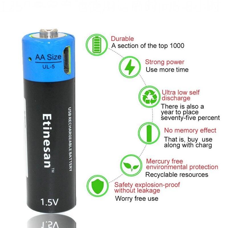 NEW product ! 4pcs/lot ETINESAN 1.5v AA 1875mwh li-polymer li-ion thium rechargeable battery ,USB battery + USB charging cable new product alibaba china 300mah 402535 3 7v li polymer battery