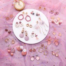 2019 rosa Ohrringe Koreanische Blume Süße Geometrische Ohrring Simulierte Perle pendientes mujer Für Frauen Quaste Ohr Schmuck brincos