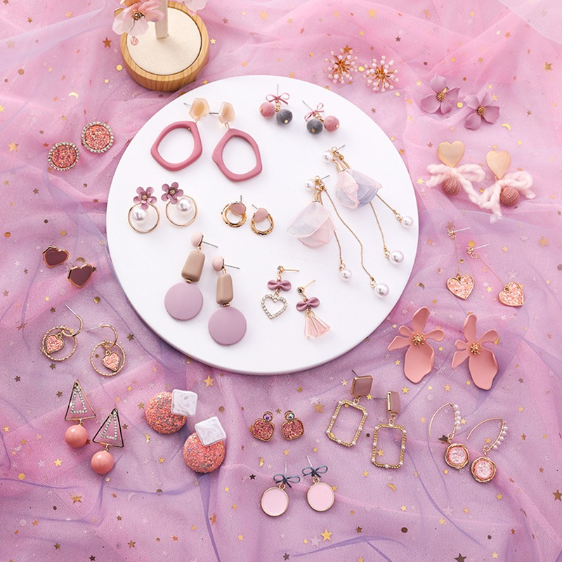 2019 Pink Earrings Korean Flower Sweet Geometric Earring Simulated Pearl pendientes mujer For Women Tassel Ear Jewelry brincos
