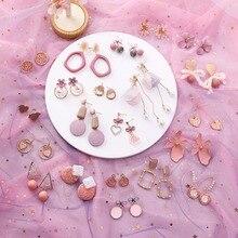 2019 pendientes rosados flor coreana dulce pendiente geométrico perla simulada pendientes mujer para Mujeres borla oreja joyería brincos