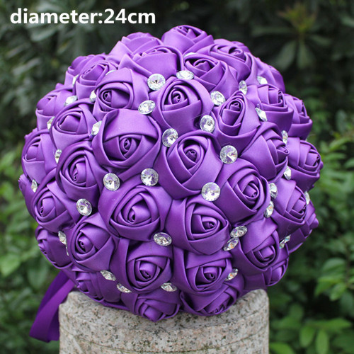 New Arrival Drop Shipping Stunning flowers Romantic Purple Bridal Bouquets Artificial Satin Rose Wedding Bouquet