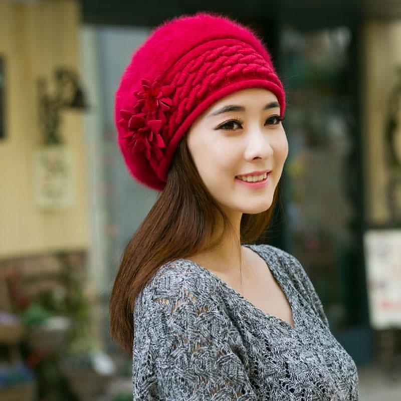2ccc268d73f89 Invierno para mujer boinas moda para mujer francés boina sombrero mujer en  la tapa plana para las niñas punto de ganchillo de lana Beanie sombreros de  piel ...