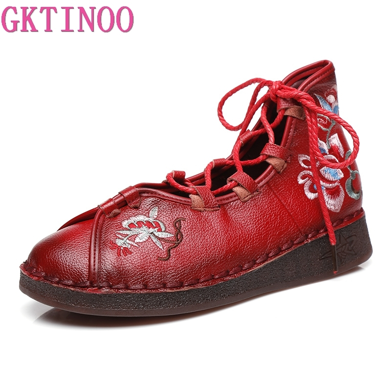 GKTINOO Fashion Women's Handmade Shoes Genuine Leather Flat Lacing Mother Shoes Woman Loafers Soft Comfortable Casual Shoes aiyuqi 2018 new spring genuine leather female comfortable shoes bow commuter casual low heeled mother shoes woeme