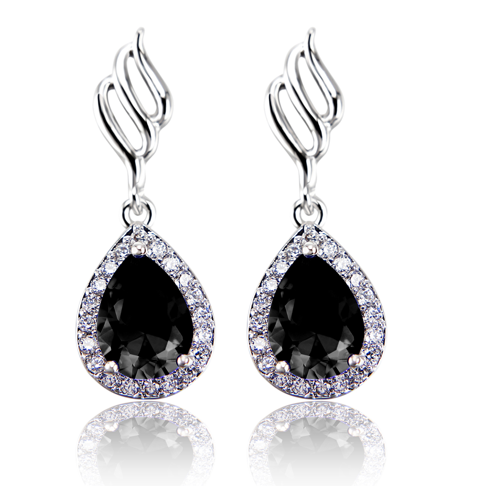 crystal black oval stud earring diamond pin athra luxe