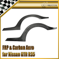 For Nissan R35 TS Style Carbon Fiber Rear Fender Flares Fibre Rear Wheel Eyebrow Car-styling
