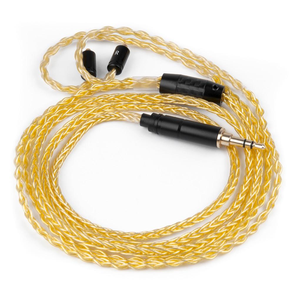 АК Новый Hand-Made чистого позолоченный кабель 8 ядер обновления кабель наушников с разъемы MMCX