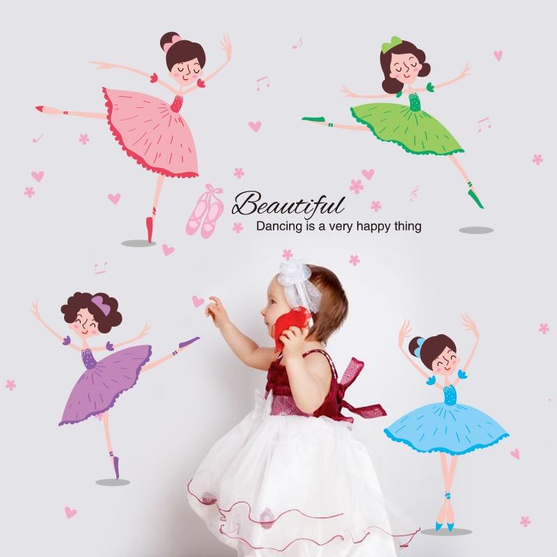 [SHIJUEHEZI] Krásné balerína Dívka na zeď Samolepky Dekorativní - Dekorace interiéru
