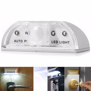 Image 3 - Lamp Night Light Intelligent Auto PIR Door Lock Induction Lamp Door Keyhole IR Motion Sensor Heat Detector 4 LED Smart Light