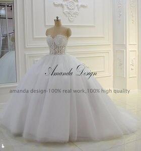 Image 2 - Amanda Design bez ramiączek przepuszczalność koronki suknia balowa z aplikacjami suknia ślubna