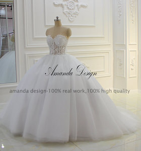 Image 2 - Amanda Thiết Kế Strapless Xem Qua Ren Appliques Bóng Gown Wedding Dress