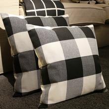 OHEART 2pcs Retro Cushion Cover Farmhouse Buffalo Throw Pillow Covers Tartan Checkers Plaid Cotton Linen Decorative