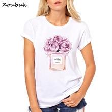 2018 Summer Tops Women Flower Perfume t shirt camisetas mujer Fashion Ladies O-neck Short Sleeve tops White high quality t-shirt