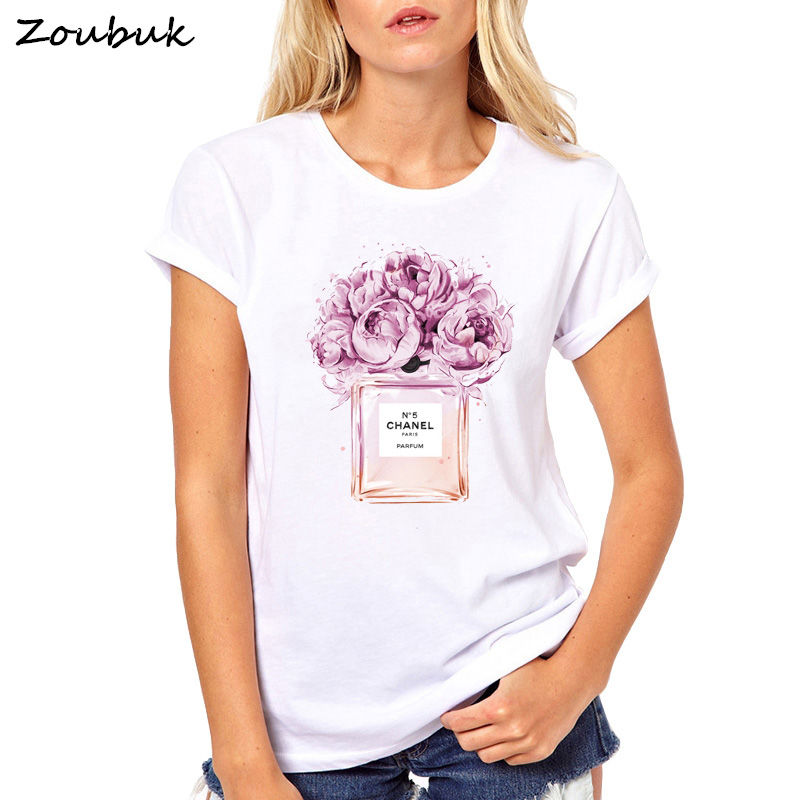 2018 verano Tops mujer Perfume t camisa camisetas mujer de las señoras de la moda o-Cuello de manga corta tops blanco de alta calidad