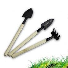 3 шт. мини-лопаты грабли в комплекте металлическая деревянная ручка головка Лопата для цветов горшечные растения мини садовый инструмент открытый бонсай набор инструментов