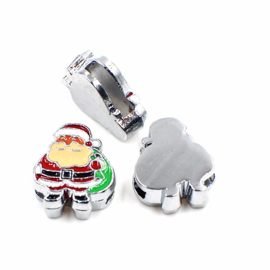 Campana navideña para el árbol de sombrero de ciervo 5 unids/lote interna Dia.8mm diapositiva encantos joyería encontrando 8mm collar de mascota muñequera clave de la cadena