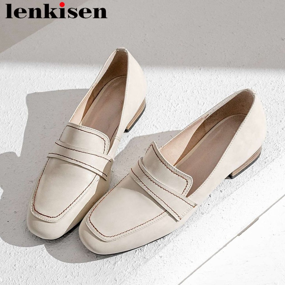Lenkisen concise brand low heels Spring Autumn classic square toe slip on cow leather loafers handmade dating party pumps L18Lenkisen concise brand low heels Spring Autumn classic square toe slip on cow leather loafers handmade dating party pumps L18