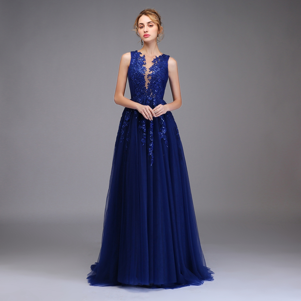 Ssyfashion 2018 New Luxury Prom Dress The Bride Banquet Elegant Blue