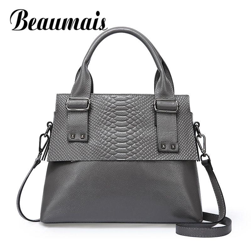 Beaumais New Alligator Pattern Genuine Leather Bag Women Leather Handbag First Layer Cow Leather Shoulder Bags For Women DF0181