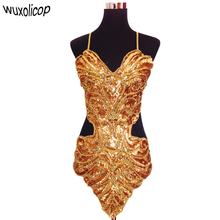 Studio art photography stage sexy sequin beading butterfly bellyband hollowed halter backless lace up belly dance dress set