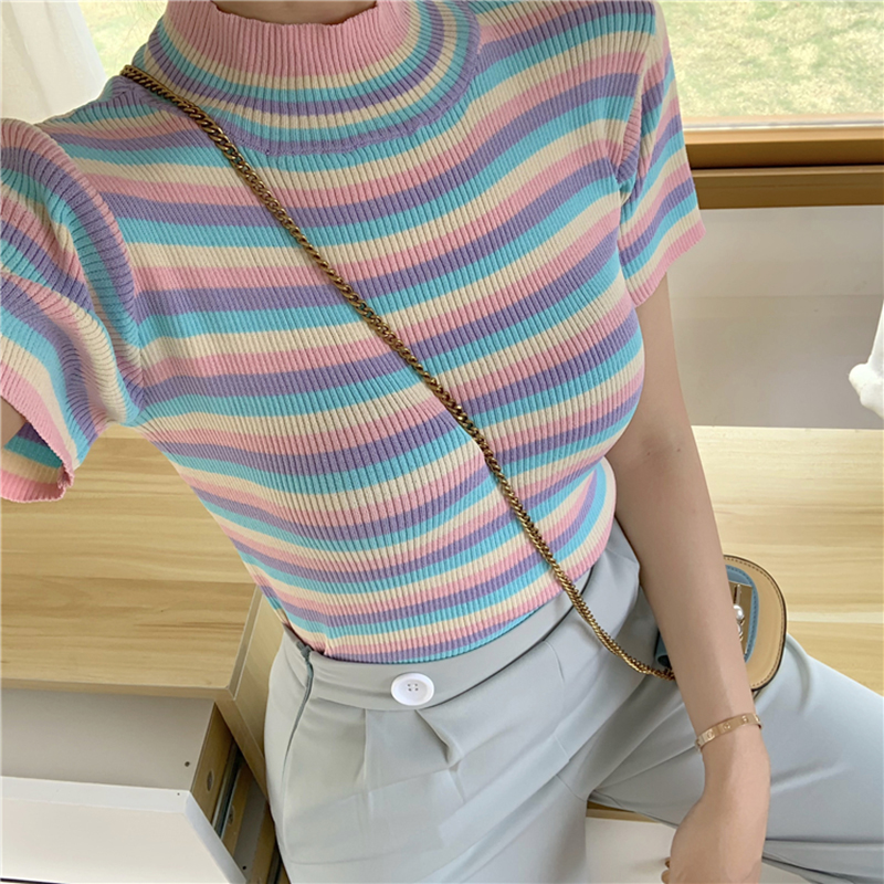 2019 Summer New Ice Cream Color Tee-shirt Female Rainbow Striped Slim Knitting Short Women T-shirt Top