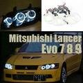 Para mitsubishi lancer evo 7 8 9 2002-2007 excelente angel eyes ultra iluminação brilhante ccfl angel eyes kit de halo anel