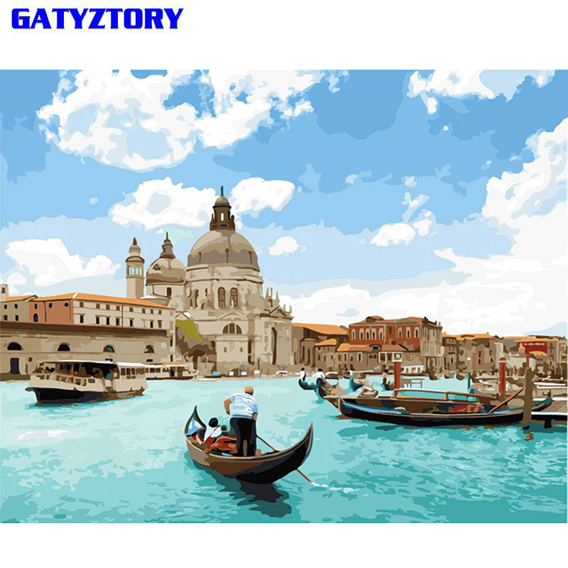 Acqua GATYZTORY Frameless di Venezia Pittura di DIY Dai Numeri Mano Paesaggio Dipinto By Numbers Regalo Unico Per La Decorazione Domestica Goccia