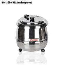 ITOP 10 Liter Electric Soup Kettle Warmer Pot Hinged Lid Stainless Steel Pot Buffet Party Cooker Soup Pots