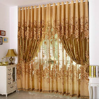 Ready Made Embroidered Luxury Curtains Tulle with Beads For Living Room Bedroom Kitchen + Thick Curtains Purple/Brown