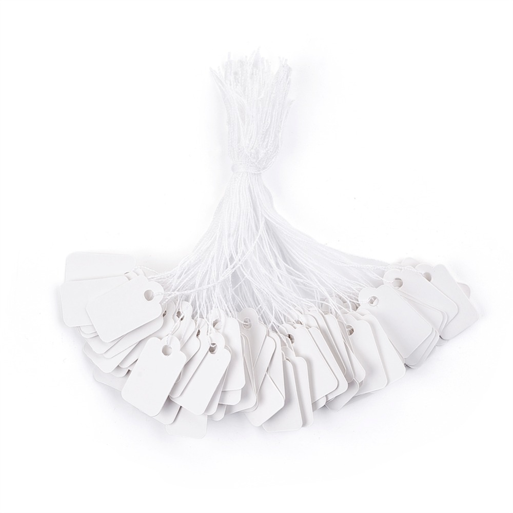 Pandahall 500pcs Price Tags Rectangle White Paper Tags Scallop Head Label Luggage Wedding Note DIY Blank Price Hang Gift Tag retail tags 1 roll 500pcs colorful adhesive price tag paper price label mark sticker for mx 5500 price tag gun lableller