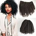 Hermoso afro rizado rizado pelo peruano virginal del pelo clip en 7 unids/set negro clip en extensiones de cabello real del cabello humano 120 g/set