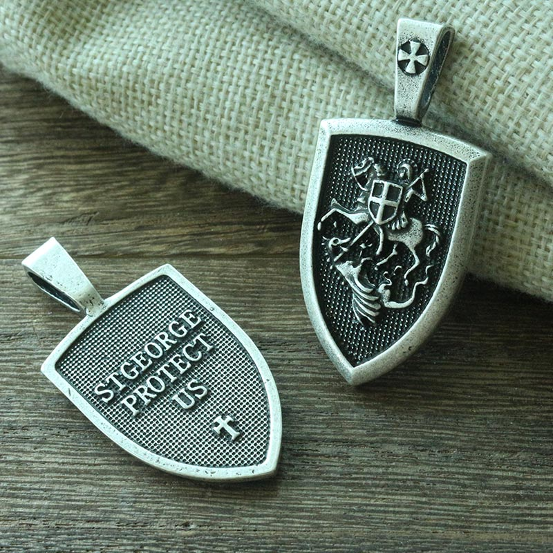 lanseis 1pcs dropshipping men necklace Archangel St.Michael Protect Me Saint Shield Protection Charm russian orhodox pendant 3