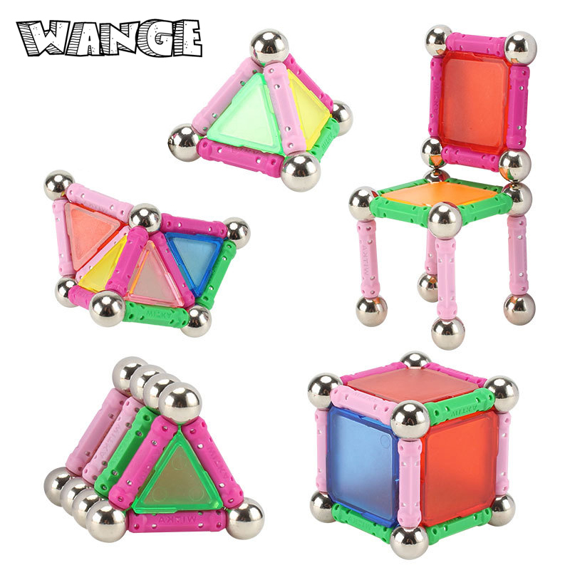 WANGE Magnet Bars Metal Balls Kids Magnetic Building Blocks Toys Construction Toy Accessories DIY Designer Educational Funny Toy ...