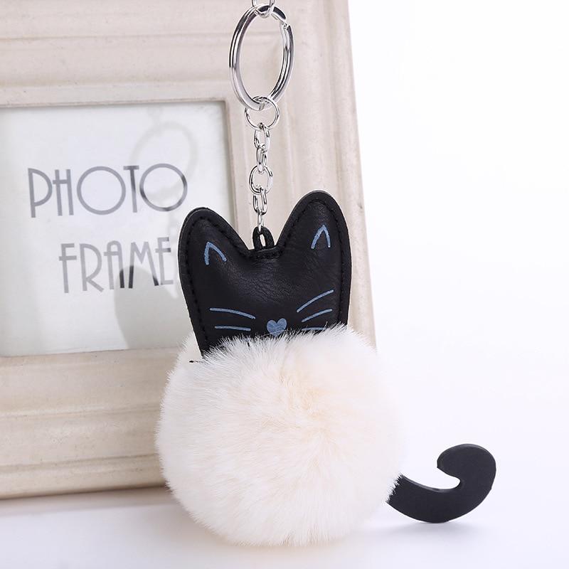 Women Fluffy cat Pompom bunny Keychain llavero pom pom key chain Rabbit Fur Ball Bag Chaveiro sleutelhanger Pompon Porte clef cat detail pom pom keychain