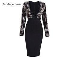 2017 New Women Bandage Dress Black Studded Rivet Vestidos Deep V-Neck Knee-Length Celebrity Evening Party Dresses Clubwear