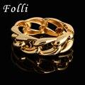 2016 de La Moda Brazalete de Oro Dubai Plateado Amor Pulseras Estilo Punky Gran Cadena Forma Cuff Gold Filled Bangle Pulseiras de Ancho 60 MM