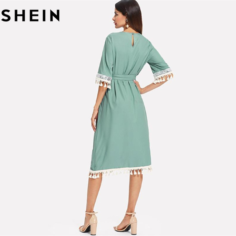 73959d5bd4c SHEIN Sequin And Tassel Detail Belted Dress Women Round Neck Half Sleeve  Dress 2018 Summer Blue Casual Belted Dress-in Dresses from Women s Clothing  on ...