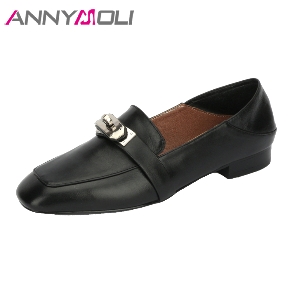 ANNYMOLI Women Moccasins Genuine Leather Shoes Flats Slip On Loafers Brand Designer Buckle Spring Shoes Plus Size 42 Black White women s platform flats loafers genuine leather slip on brogues shoes for women female footwear brand designer moccasins calzados