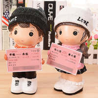 Love Hat Doll Coins Piggy Bank Home Decor Resin Train Ticket Gifts Money Box Facebank Face