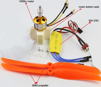 Fixing Wing Model Aircraft Parts Power Set XXD 1400KV 2450KV Brushless Motor 30A 40A ESC 9g