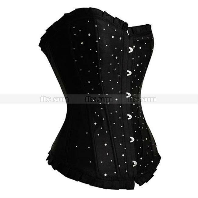 Black Satin Rhinestones   Corset   Lace up Boned Overbust   Bustier   Sexy Party Costume PLUS SIZE S M L XL 2XL 3XL 4XL 5XL 6XL