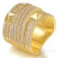 Mytys High Quality  Gold Plated Crystal Invisible Setting Rings for Women Width Surface Ring Fashion R1158