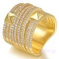 Mytys Invisible de Alta Calidad de Cristal Plateado del Oro Anillos de Ajuste para Las Mujeres Moda Anillo Ancho de Superficie R1158