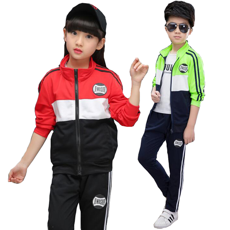 2018 spring Long Sleeve boy Girls Clothing Set kids Sport Suit For Boys Teenage Clothes Sets children School Uniform