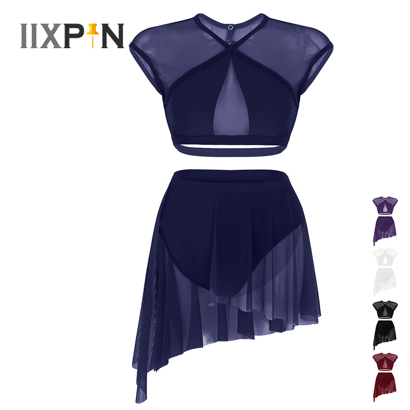 IIXPIN Women Ballet Dress Leotard Asymmetric Contemporary Lyrical Dance Dress Sleeveless Criss Cross Crop Tops + Short Skirt