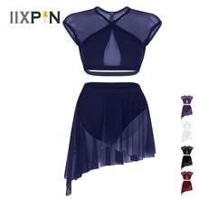 IIXPIN النساء الباليه اللباس يوتار غير المتماثلة المعاصرة الغنائي فستان رقص أكمام كريسس الصليب المحاصيل قمم + تنورة قصيرة