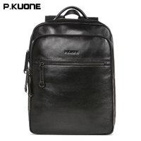 2017 New Men Casual Genuine Leather Shoulder Bag 14 Inch Laptop Waterproof Bag Messenger Travel Backpack