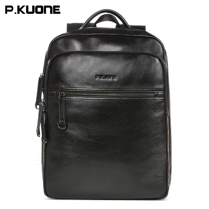 P.KUONE 2017 New Men casual Genuine Leather shoulder bag 14 inch laptop Waterproof  bag Messenger Travel Backpack  School bag marrant genuine leather backpacks men shoulder bag men bag leather laptop bag 15 inch men s luggage travel bags school backpack