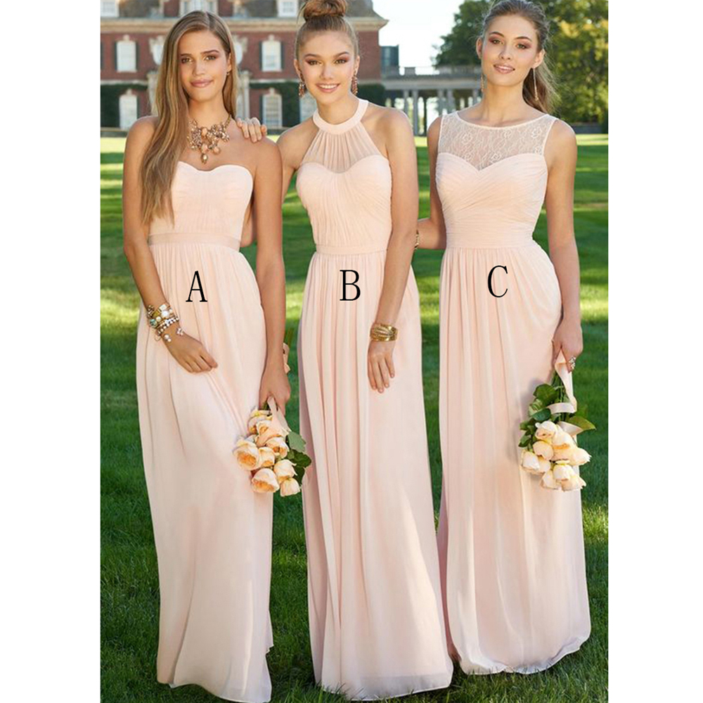 Elegant long light pink bridesmaid dress 2016 halter pleat chiffon elegant long light pink bridesmaid dress 2016 halter pleat chiffon bridesmaid dresses peach cheap bridesmaids dresses b2 in bridesmaid dresses from weddings ombrellifo Gallery