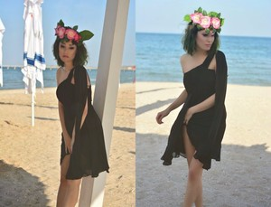 Image 2 - [Czyszczenie magazynu wyprzedaż] sukienki koktajlowe kiedykolwiek dość HE03537 jedno ramię Ruffles wyściełane szyfonowe krótkie Vestido 2018 sukienki koktajlowe