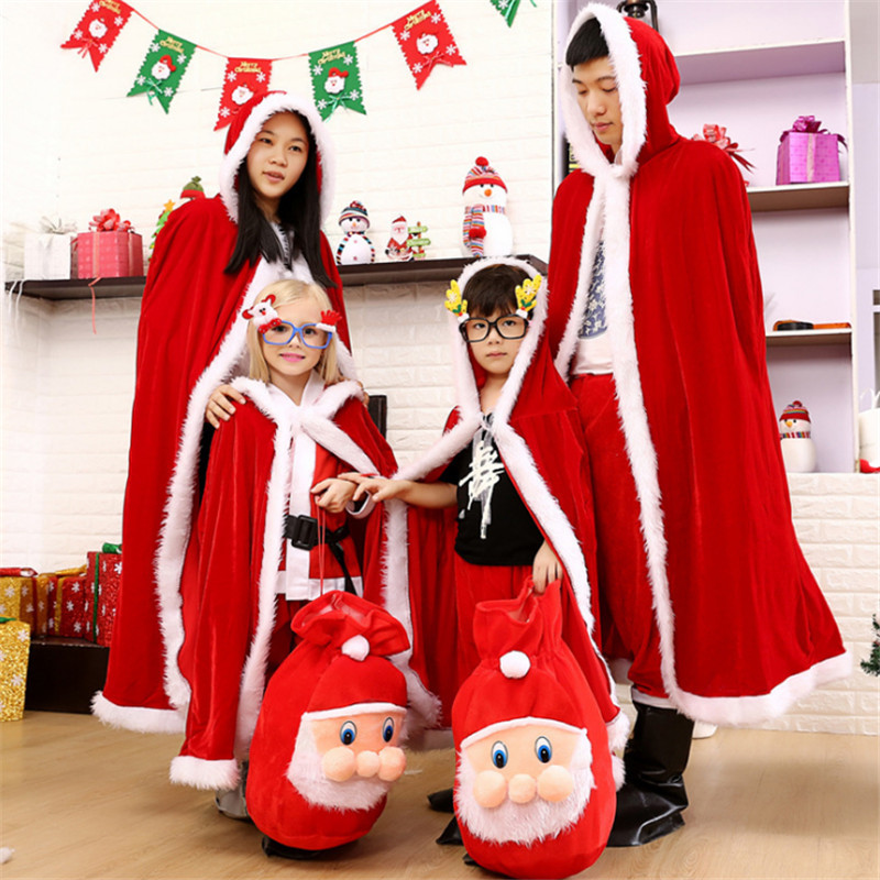 high quality family Christmas costume Santa Claus cosplay cloak parent-child clothing New year party clothing for child adult